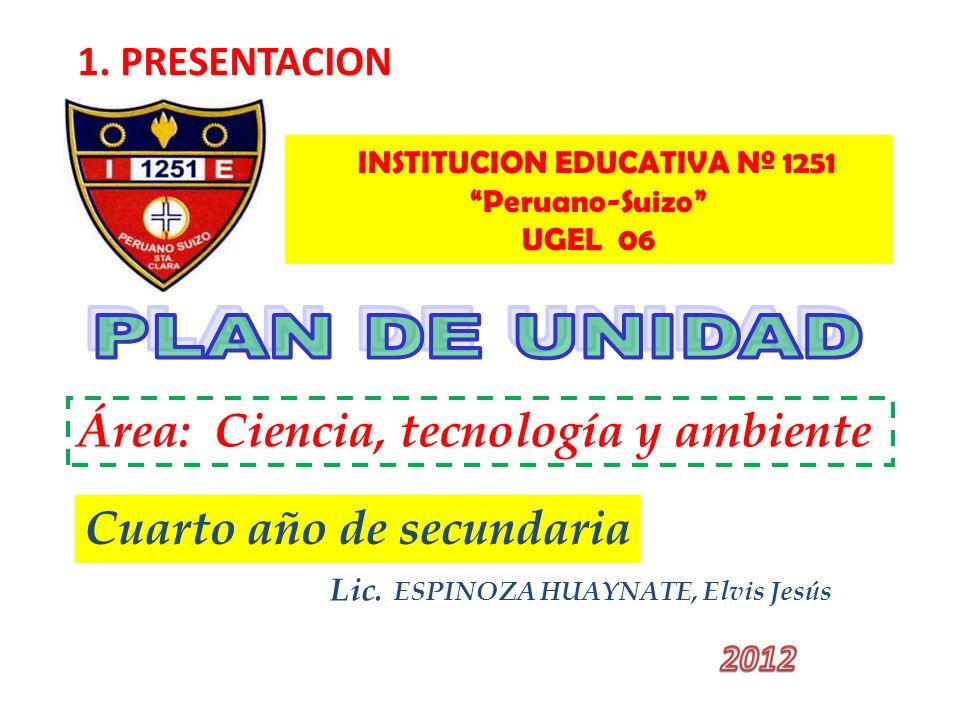 Lic. ESPINOZA HUAYNATE, Elvis Jesús 1. PRESENTACION INSTITUCION EDUCATIVA Nº 1251 Peruano-Suizo UGEL 06 Área: Ciencia, tecnología y ambiente Cuarto añ