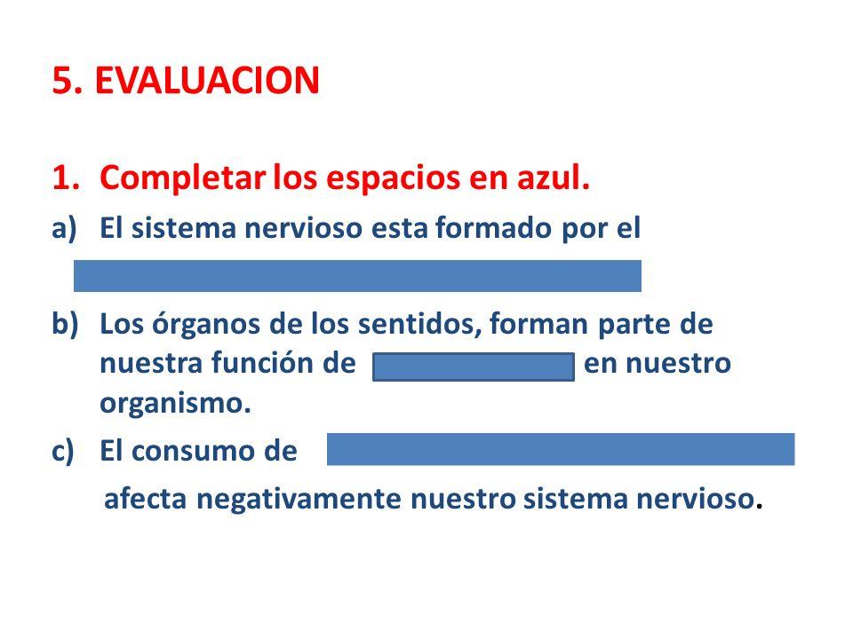 5. EVALUACION 1.Completar los espacios en azul. a)El sistema nervioso esta formado por el b)Los órganos de los sentidos, forman parte de nuestra funci