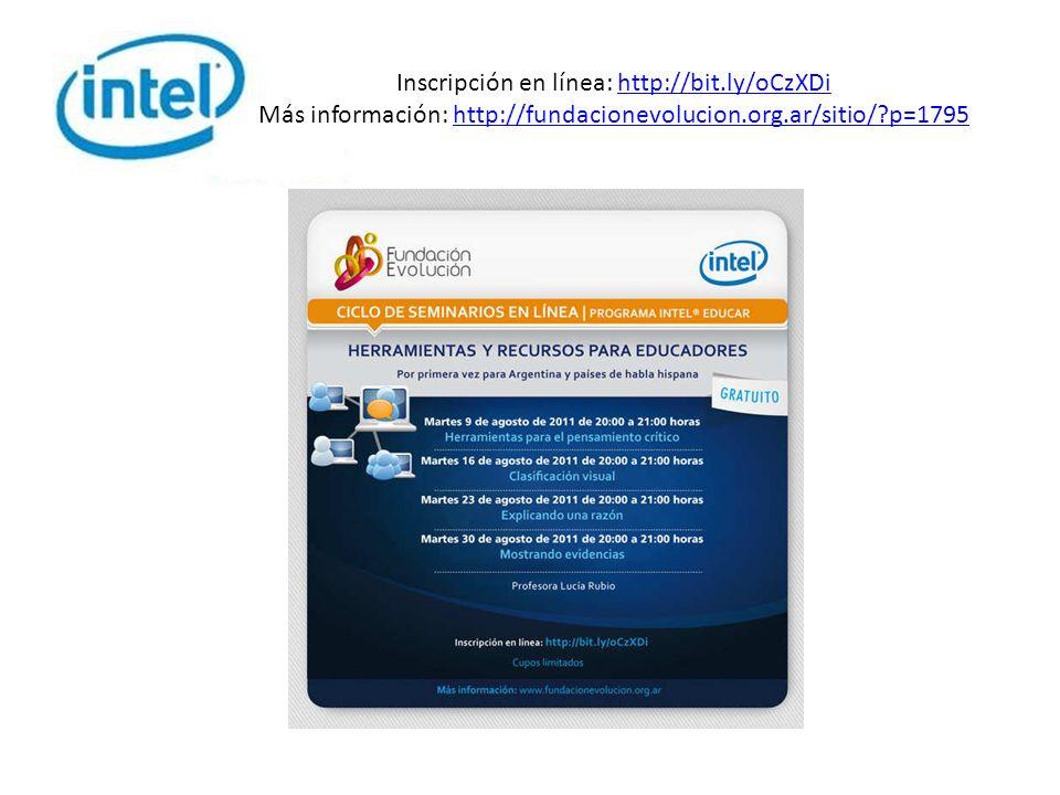 Inscripción en línea: http://bit.ly/oCzXDi Más información: http://fundacionevolucion.org.ar/sitio/?p=1795http://bit.ly/oCzXDihttp://fundacionevolucion.org.ar/sitio/?p=1795