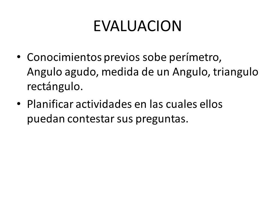 EVALUACION Conocimientos previos sobe perímetro, Angulo agudo, medida de un Angulo, triangulo rectángulo. Planificar actividades en las cuales ellos p