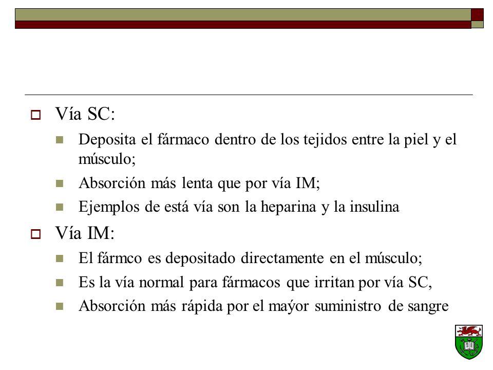 Vía SC: Deposita el fármaco dentro de los tejidos entre la piel y el músculo; Absorción más lenta que por vía IM; Ejemplos de está vía son la heparina y la insulina Vía IM: El fármco es depositado directamente en el músculo; Es la vía normal para fármacos que irritan por vía SC, Absorción más rápida por el maýor suministro de sangre