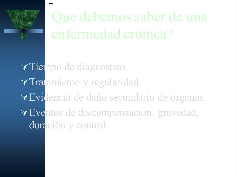 Que debemos saber de una enfermedad crónica ? Tiempo de diagnostico. Tratamiento y regularidad. Evidencia de daño secundario de órganos. Eventos de de