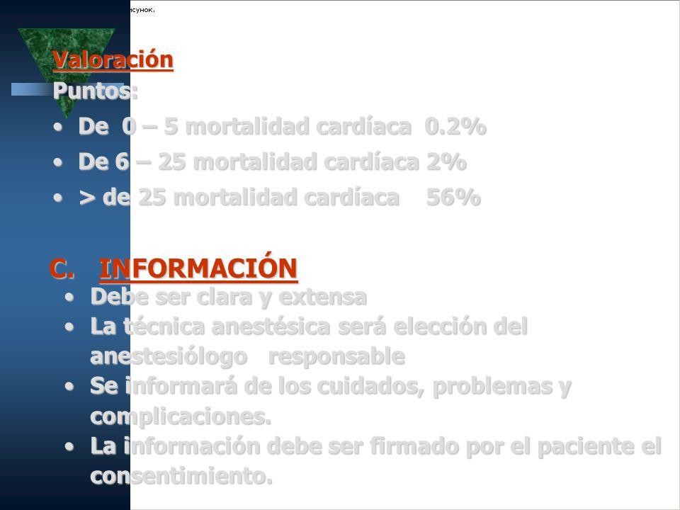 ValoraciónPuntos: De 0 – 5 mortalidad cardíaca 0.2%De 0 – 5 mortalidad cardíaca 0.2% De 6 – 25 mortalidad cardíaca 2%De 6 – 25 mortalidad cardíaca 2%