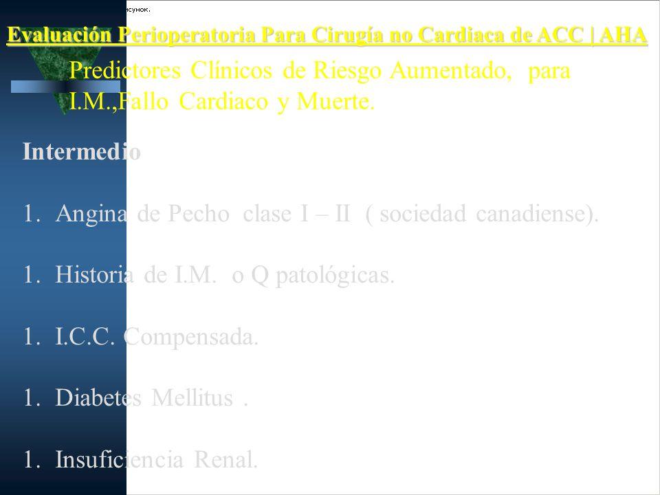 Evaluación Perioperatoria Para Cirugía no Cardiaca de ACC | AHA Predictores Clínicos de Riesgo Aumentado, para I.M.,Fallo Cardiaco y Muerte. Intermedi