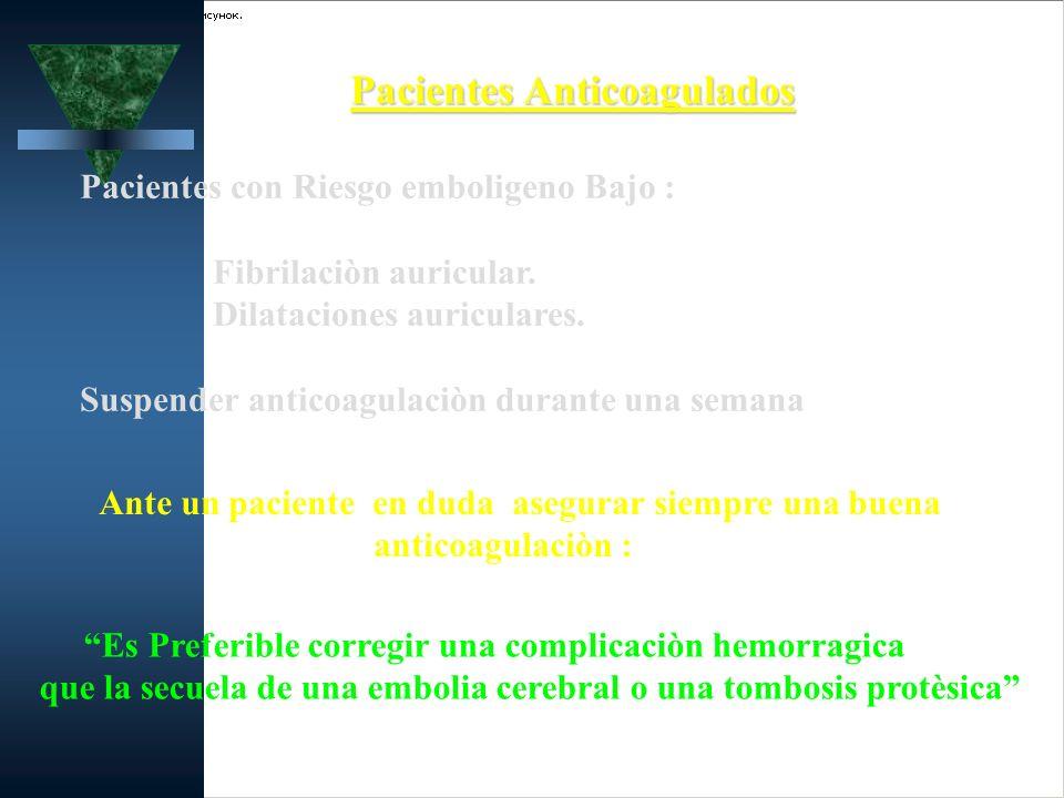 Pacientes Anticoagulados Pacientes con Riesgo emboligeno Bajo : Fibrilaciòn auricular. Dilataciones auriculares. Suspender anticoagulaciòn durante una