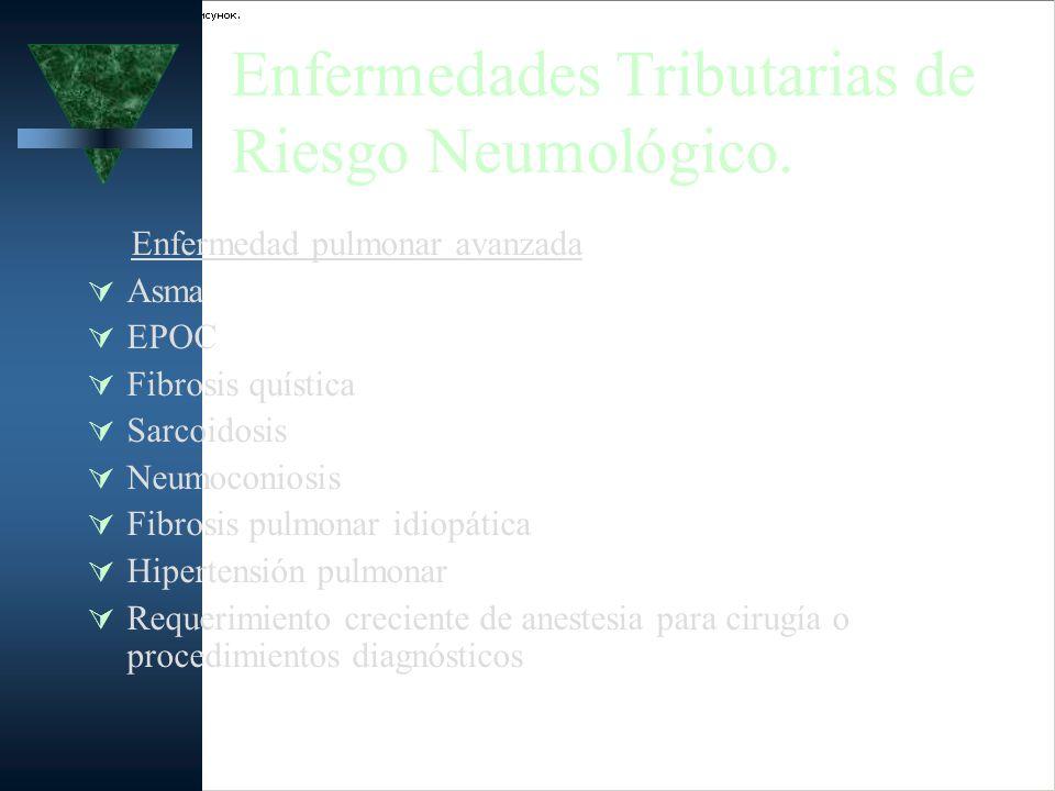 Enfermedades Tributarias de Riesgo Neumológico. Enfermedad pulmonar avanzada Asma EPOC Fibrosis quística Sarcoidosis Neumoconiosis Fibrosis pulmonar i