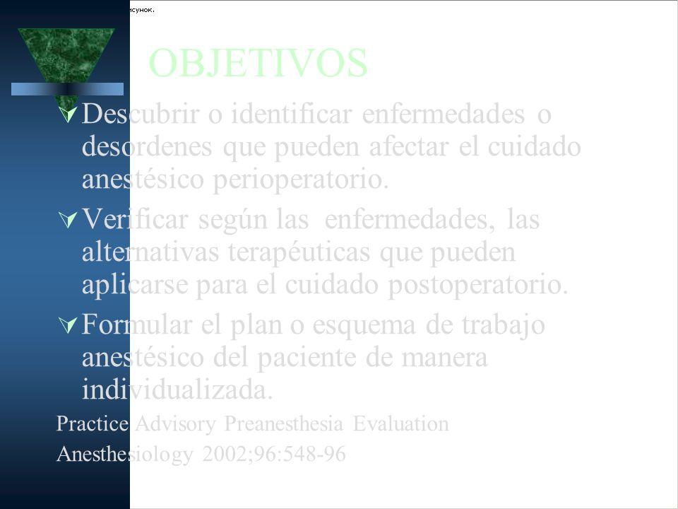 ELEMENTOS DE EVALUACION Historia Preanestésica y Examen Físico.