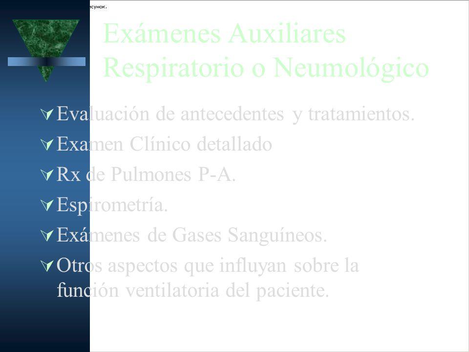Exámenes Auxiliares Respiratorio o Neumológico Evaluación de antecedentes y tratamientos. Examen Clínico detallado Rx de Pulmones P-A. Espirometría. E