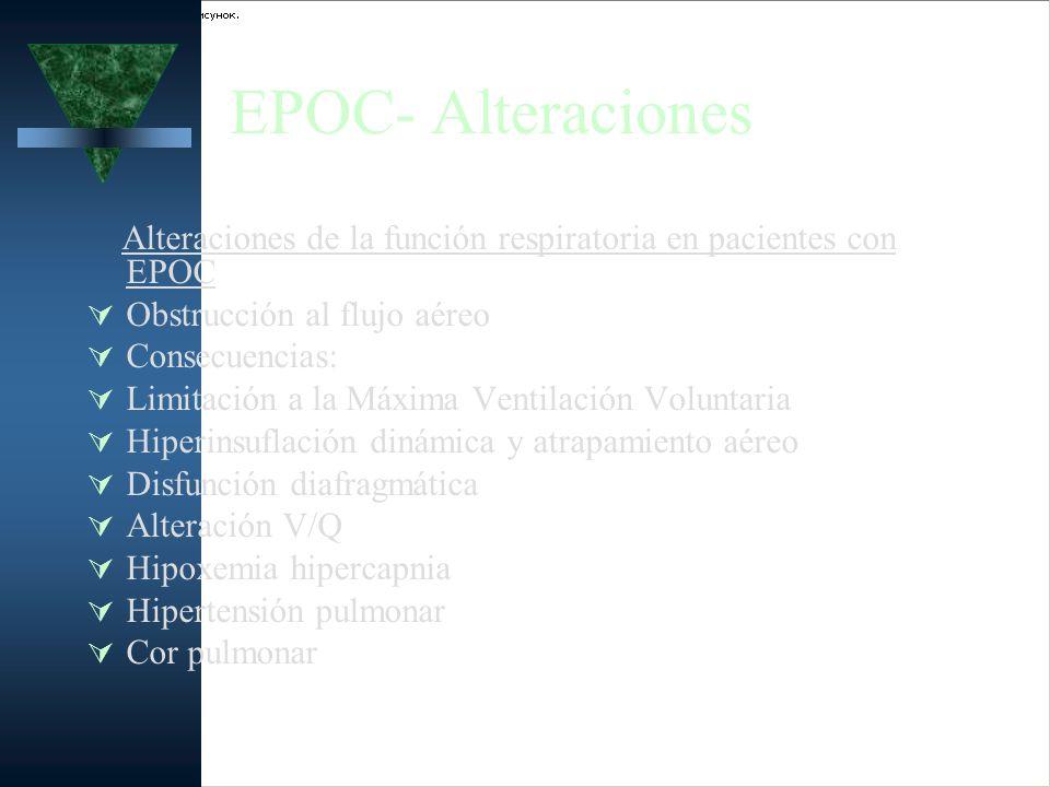 EPOC- Alteraciones Alteraciones de la función respiratoria en pacientes con EPOC Obstrucción al flujo aéreo Consecuencias: Limitación a la Máxima Vent