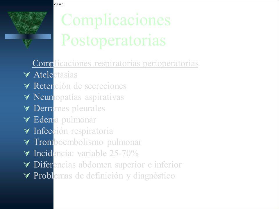 Complicaciones Postoperatorias Complicaciones respiratorias perioperatorias Atelectasias Retención de secreciones Neumopatías aspirativas Derrames ple