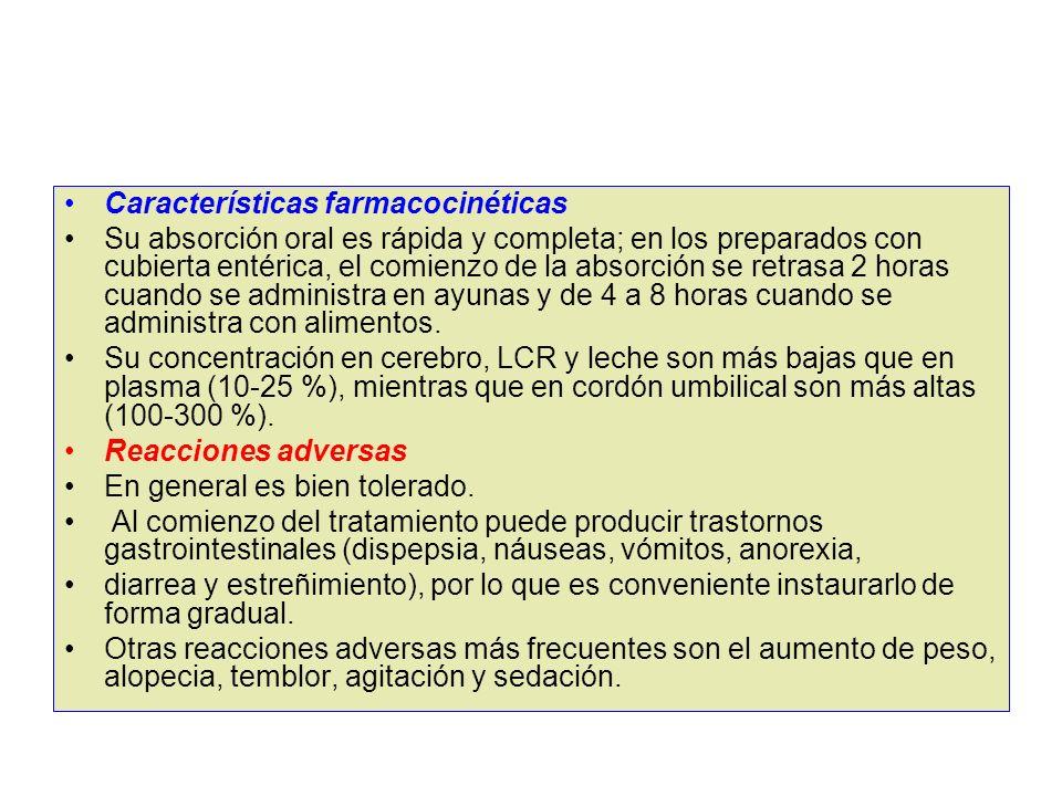 Características farmacocinéticas Su absorción oral es rápida y completa; en los preparados con cubierta entérica, el comienzo de la absorción se retra