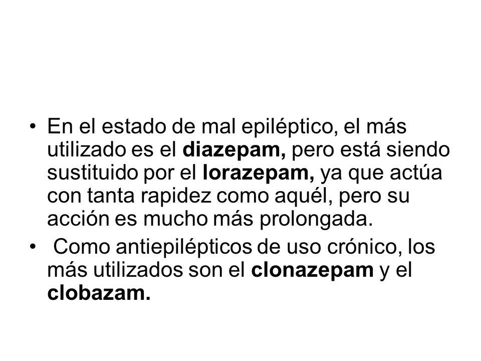 En el estado de mal epiléptico, el más utilizado es el diazepam, pero está siendo sustituido por el lorazepam, ya que actúa con tanta rapidez como aqu
