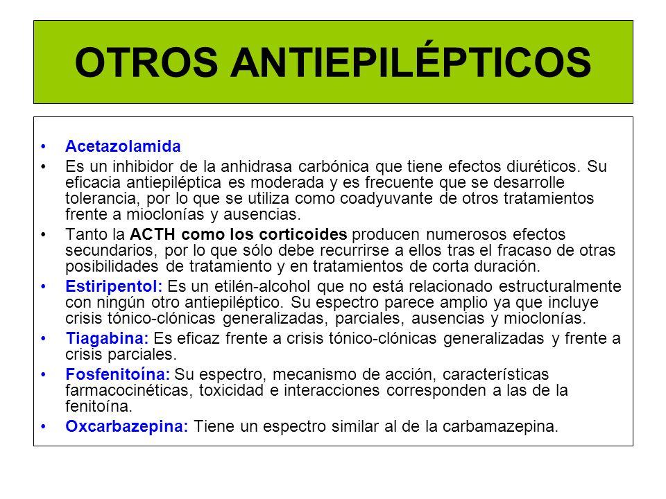 OTROS ANTIEPILÉPTICOS Acetazolamida Es un inhibidor de la anhidrasa carbónica que tiene efectos diuréticos. Su eficacia antiepiléptica es moderada y e