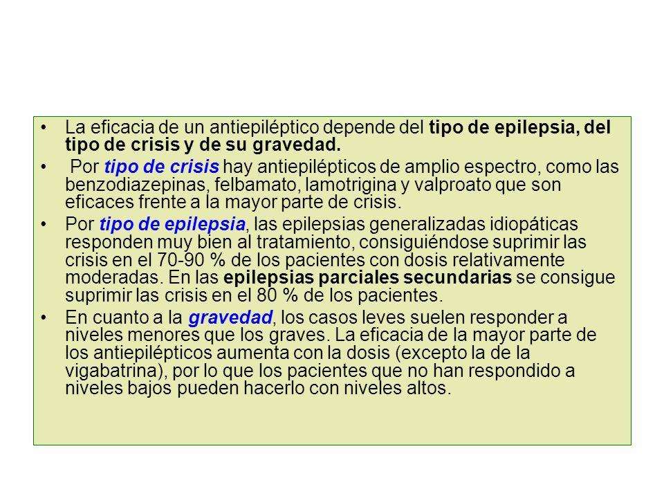 La eficacia de un antiepiléptico depende del tipo de epilepsia, del tipo de crisis y de su gravedad. Por tipo de crisis hay antiepilépticos de amplio
