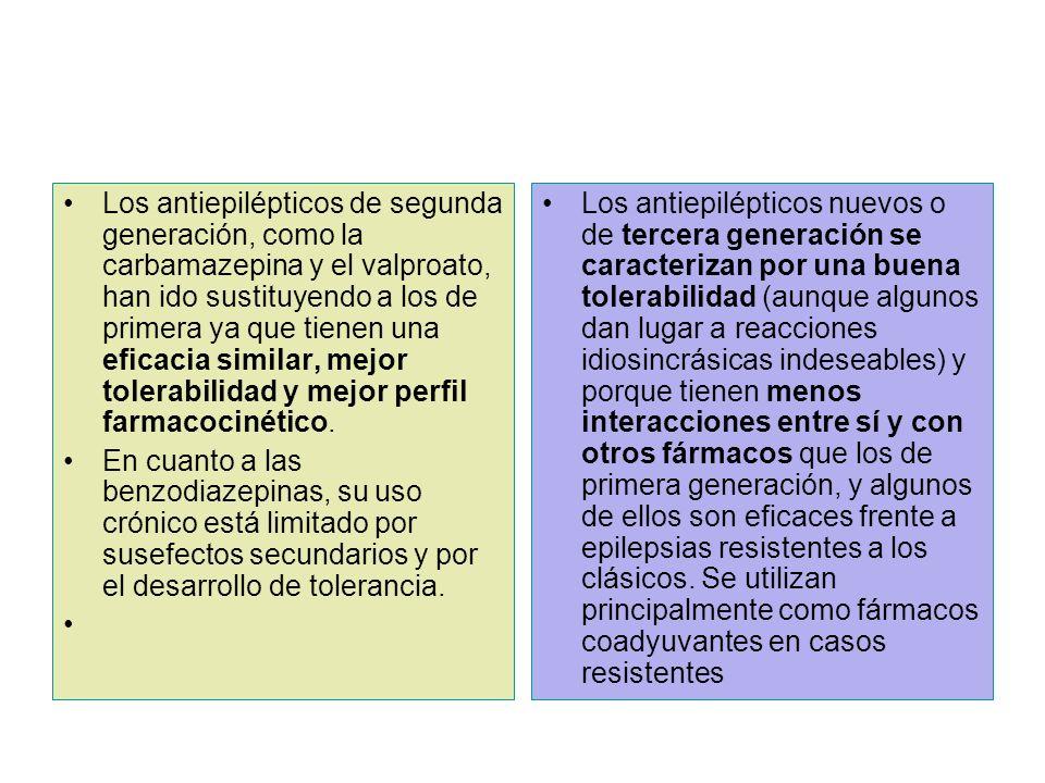 Los antiepilépticos de segunda generación, como la carbamazepina y el valproato, han ido sustituyendo a los de primera ya que tienen una eficacia simi