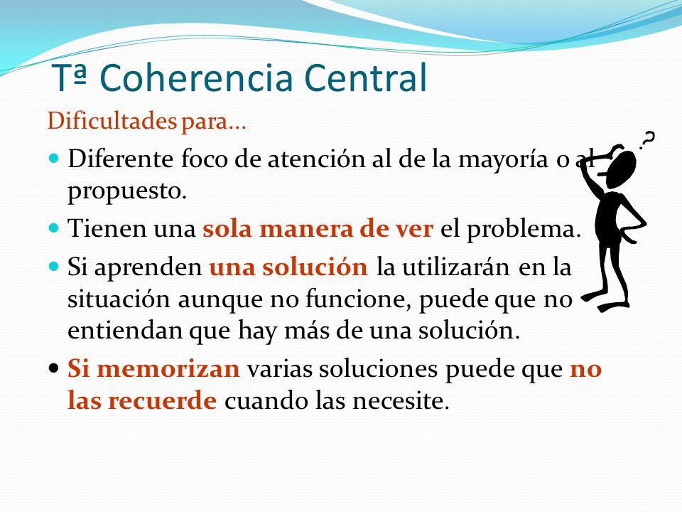 Tª Coherencia Central Dificultades para...