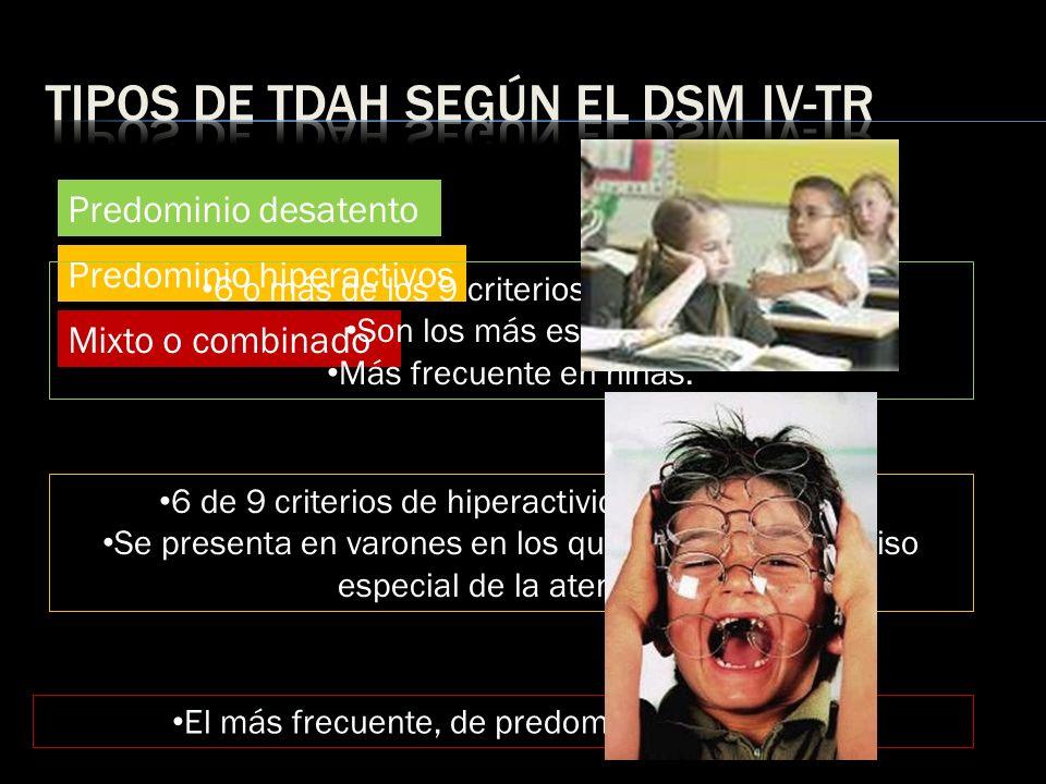 Predominio desatento Predominio hiperactivos Mixto o combinado 6 o más de los 9 criterios de desatención Son los más escasos. Más frecuente en niñas.