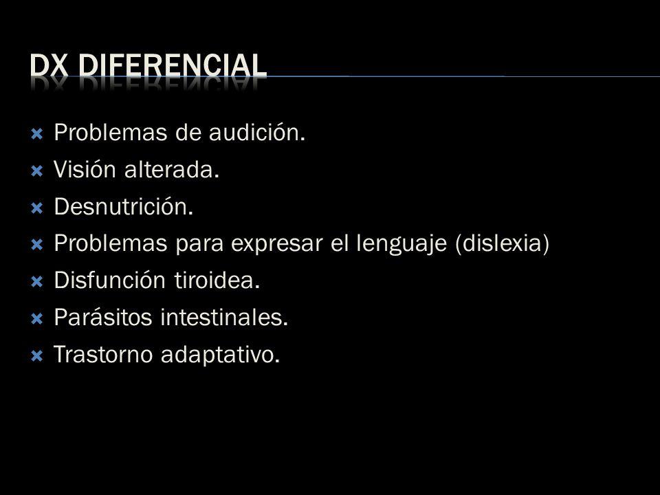 Problemas de audición. Visión alterada. Desnutrición. Problemas para expresar el lenguaje (dislexia) Disfunción tiroidea. Parásitos intestinales. Tras