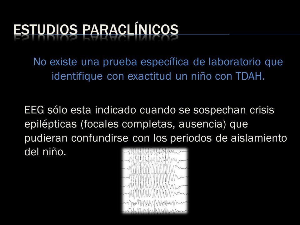 No existe una prueba específica de laboratorio que identifique con exactitud un niño con TDAH. EEG sólo esta indicado cuando se sospechan crisis epilé