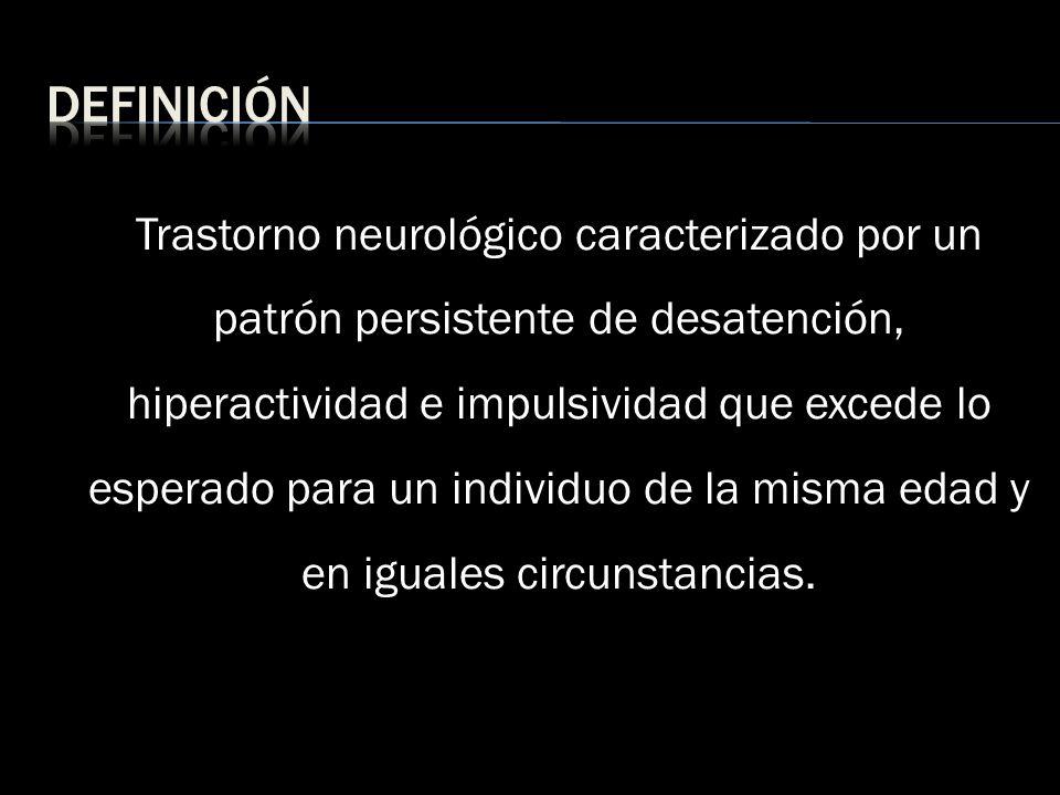 Trastorno neurológico caracterizado por un patrón persistente de desatención, hiperactividad e impulsividad que excede lo esperado para un individuo d