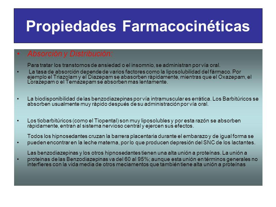 Propiedades Farmacocinéticas Absorción y Distribución: Para tratar los transtornos de ansiedad o el insomnio, se administran por vía oral. La tasa de