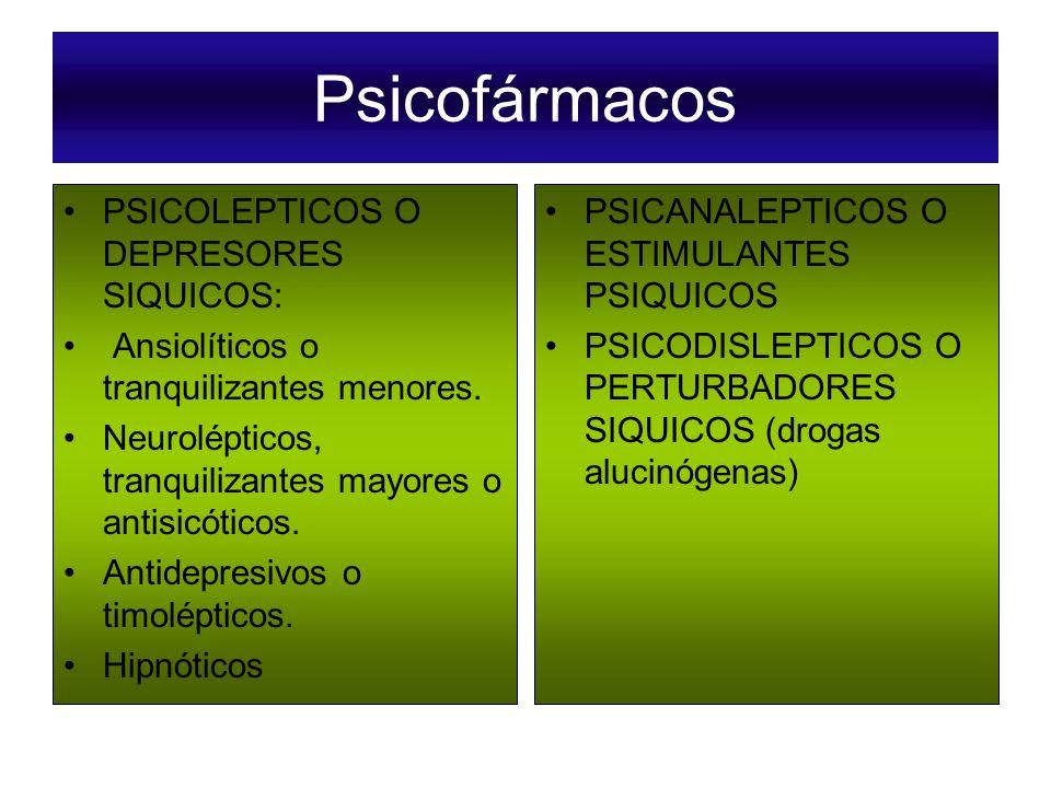 Psicofármacos PSICOLEPTICOS O DEPRESORES SIQUICOS: Ansiolíticos o tranquilizantes menores. Neurolépticos, tranquilizantes mayores o antisicóticos. Ant