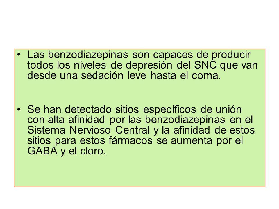 Las benzodiazepinas son capaces de producir todos los niveles de depresión del SNC que van desde una sedación leve hasta el coma. Se han detectado sit