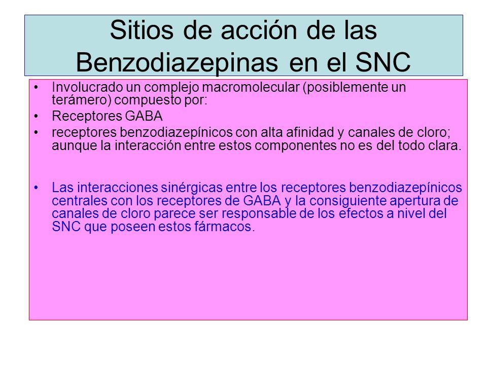 Sitios de acción de las Benzodiazepinas en el SNC Involucrado un complejo macromolecular (posiblemente un terámero) compuesto por: Receptores GABA rec