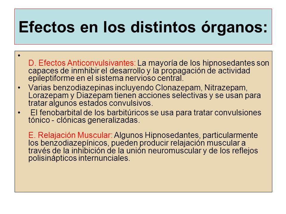 Efectos en los distintos órganos: D. Efectos Anticonvulsivantes: La mayoría de los hipnosedantes son capaces de inmhibir el desarrollo y la propagació