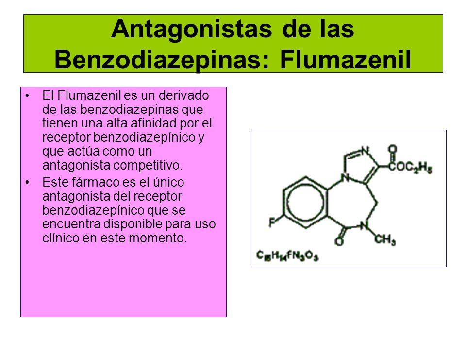 Antagonistas de las Benzodiazepinas: Flumazenil El Flumazenil es un derivado de las benzodiazepinas que tienen una alta afinidad por el receptor benzo