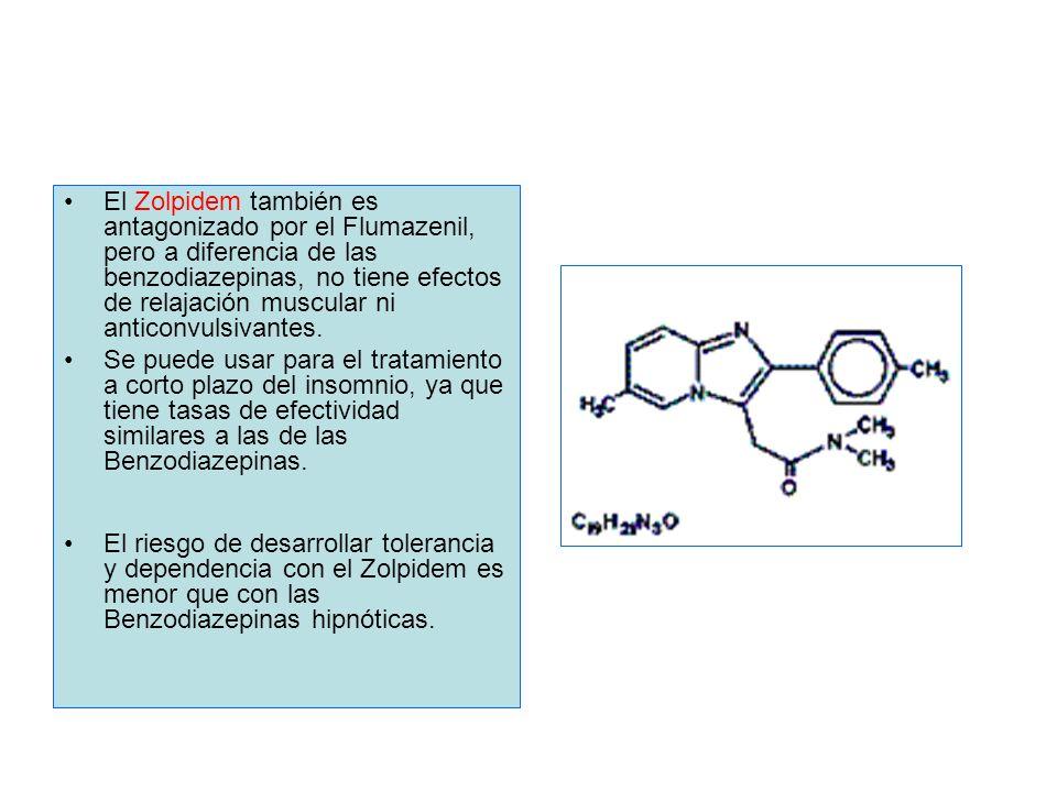 El Zolpidem también es antagonizado por el Flumazenil, pero a diferencia de las benzodiazepinas, no tiene efectos de relajación muscular ni anticonvul