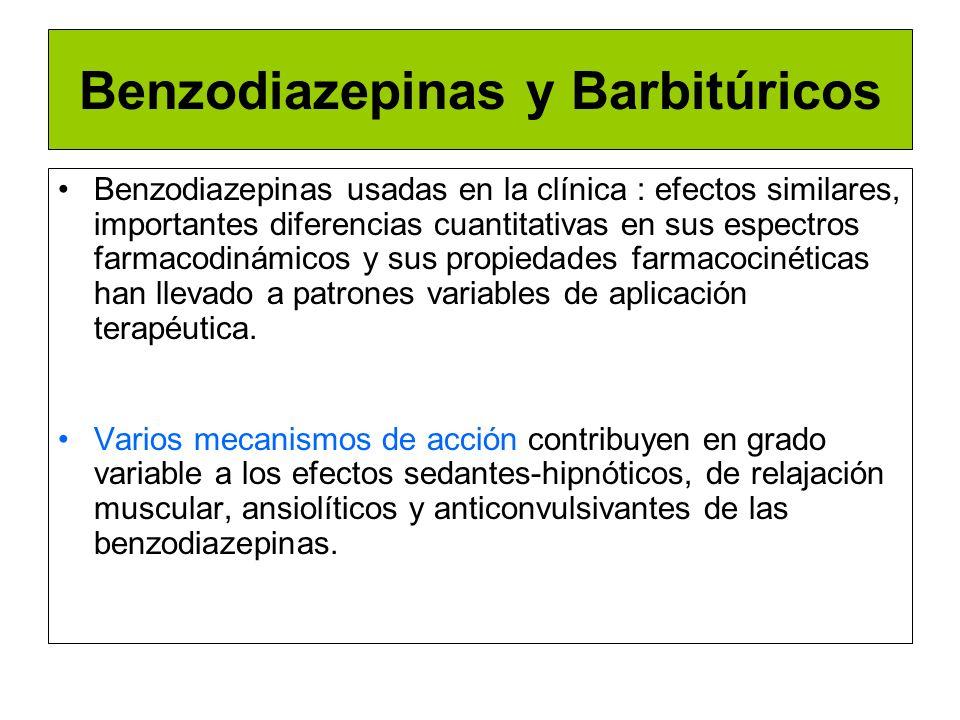 Benzodiazepinas y Barbitúricos Farmacodinamia Los sitios exactos y el mecanismo de acción de las benzodiazepinas no se han dilucidado completamente, sin embargo parece que su acción está mediada a través del neurotransmisor inhibitorio: acido gama-aminobutírico (GABA).