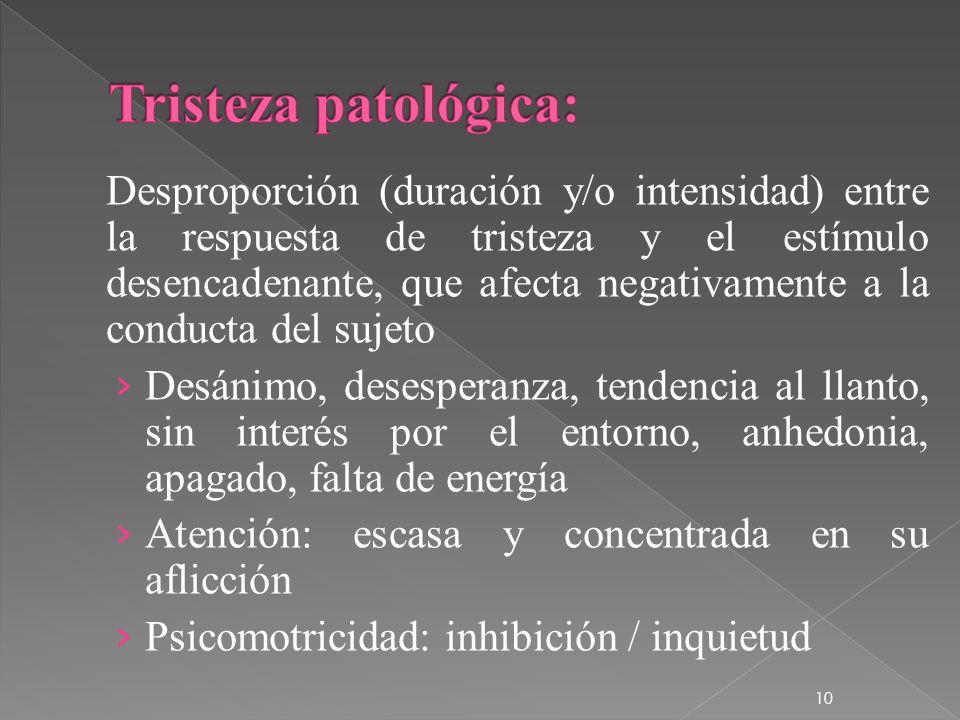 Desproporción (duración y/o intensidad) entre la respuesta de tristeza y el estímulo desencadenante, que afecta negativamente a la conducta del sujeto