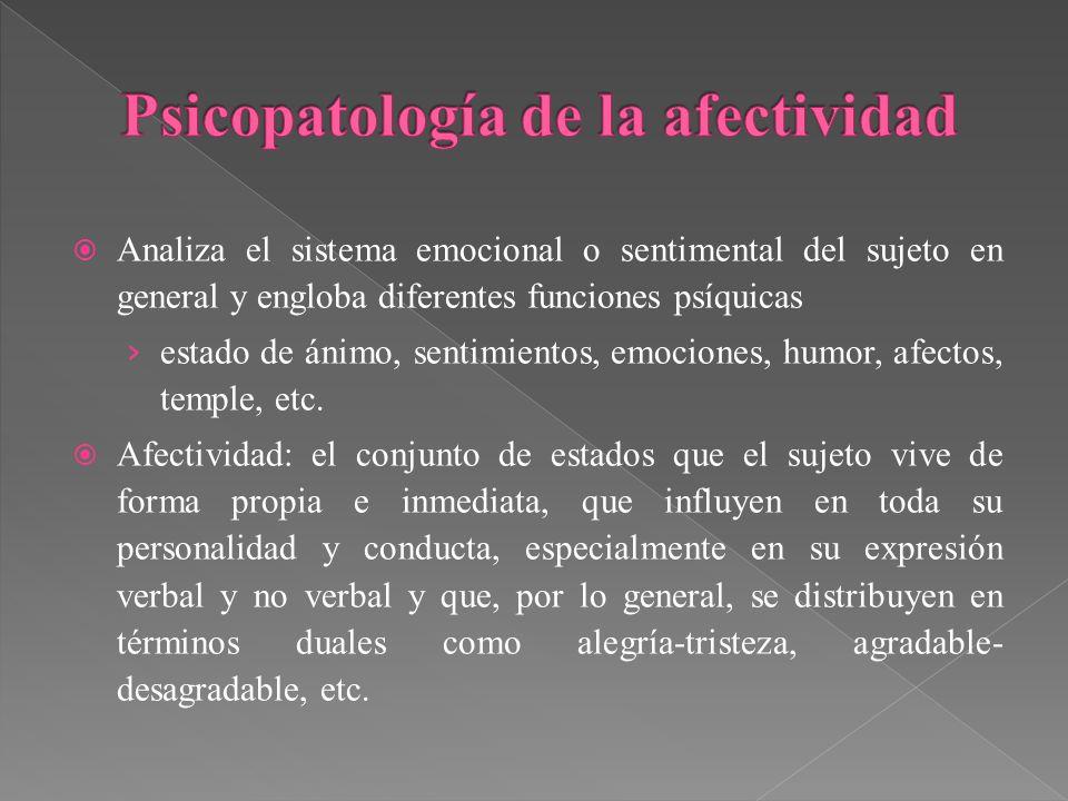 Analiza el sistema emocional o sentimental del sujeto en general y engloba diferentes funciones psíquicas estado de ánimo, sentimientos, emociones, hu