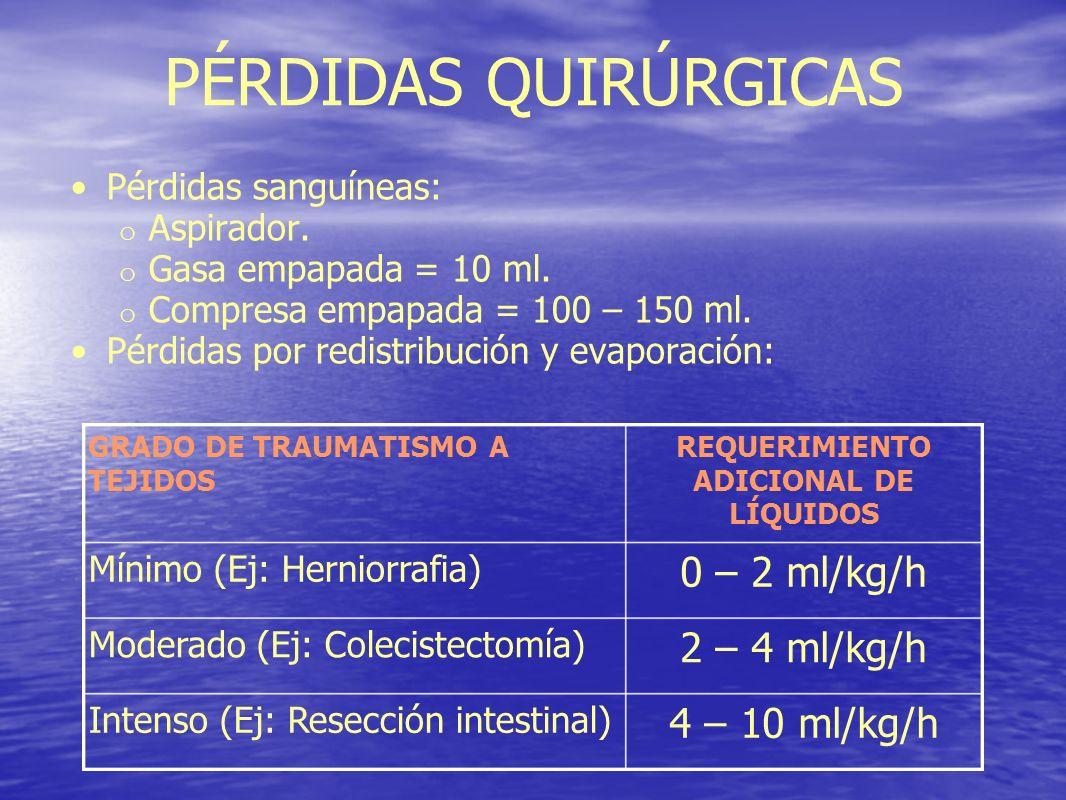 PÉRDIDAS QUIRÚRGICAS Pérdidas sanguíneas: o Aspirador. o Gasa empapada = 10 ml. o Compresa empapada = 100 – 150 ml. Pérdidas por redistribución y evap