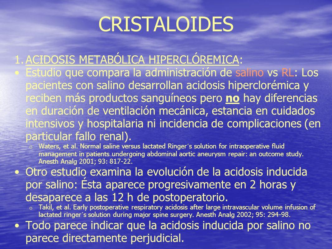 CRISTALOIDES 1.ACIDOSIS METABÓLICA HIPERCLÓREMICA: Estudio que compara la administración de salino vs RL: Los pacientes con salino desarrollan acidosi