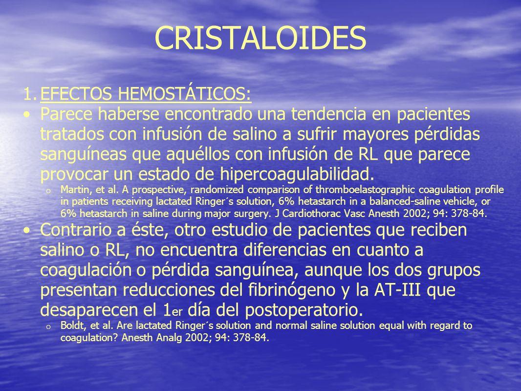 CRISTALOIDES 1.EFECTOS HEMOSTÁTICOS: Parece haberse encontrado una tendencia en pacientes tratados con infusión de salino a sufrir mayores pérdidas sa
