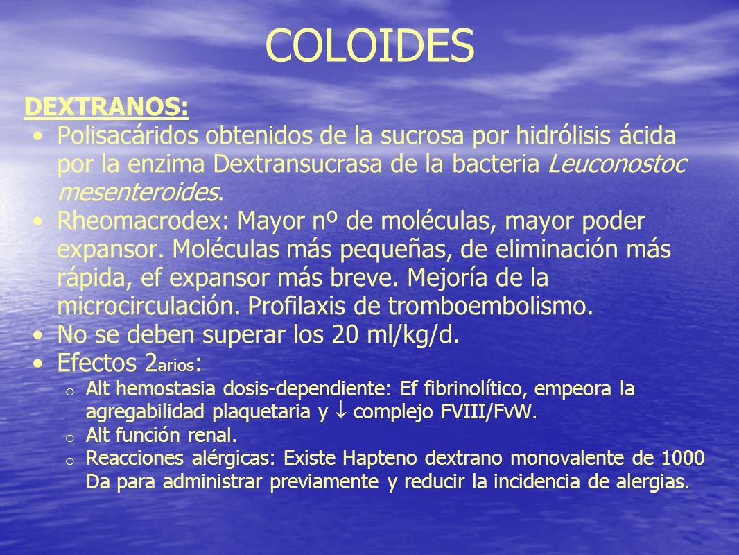 COLOIDES DEXTRANOS: Polisacáridos obtenidos de la sucrosa por hidrólisis ácida por la enzima Dextransucrasa de la bacteria Leuconostoc mesenteroides.