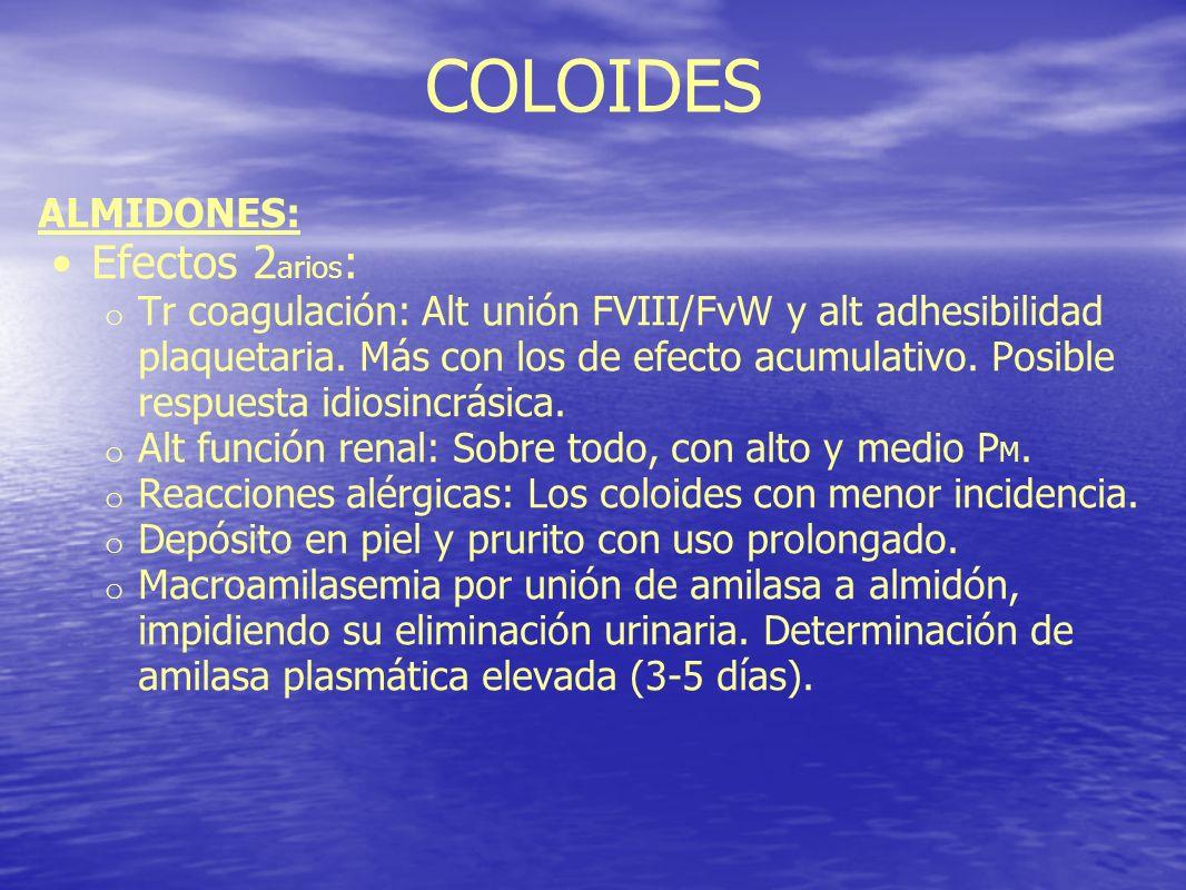 COLOIDES ALMIDONES: Efectos 2 arios : o Tr coagulación: Alt unión FVIII/FvW y alt adhesibilidad plaquetaria. Más con los de efecto acumulativo. Posibl