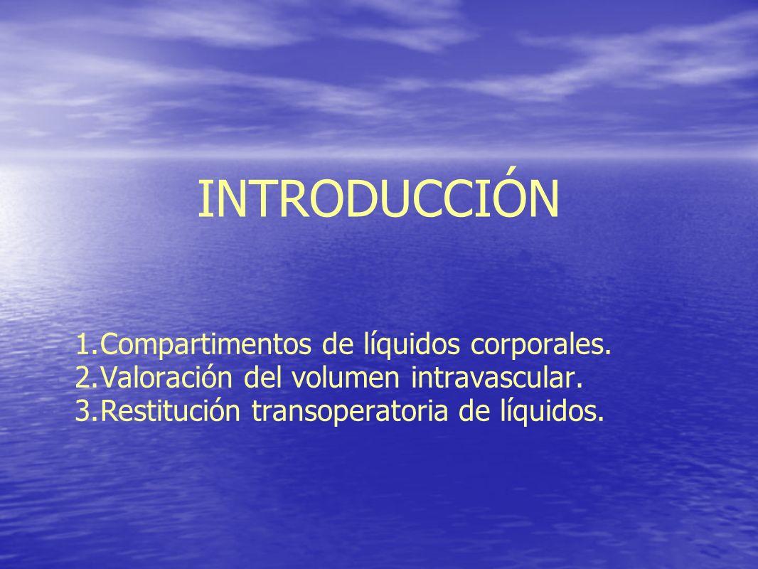 COMPARTIMENTOS DE LÍQUIDOS 82567 AGUA CORPORAL TOTAL (%) 7216PROTEÍNA 2275FÓSFORO 2250MAGNESIO 33<1CALCIO 1051104CLORURO 242810BICARBONATO 44140POTASIO 14514210SODIO INTRAVASCULARINTERSTICIAL EXTRACELULARINTRACELULAR Agua corporal total: - : 60 % del peso.
