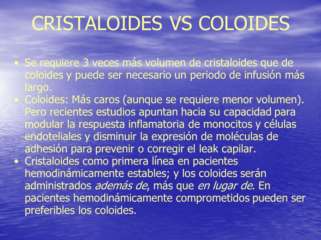 CRISTALOIDES VS COLOIDES Se requiere 3 veces más volumen de cristaloides que de coloides y puede ser necesario un periodo de infusión más largo. Coloi