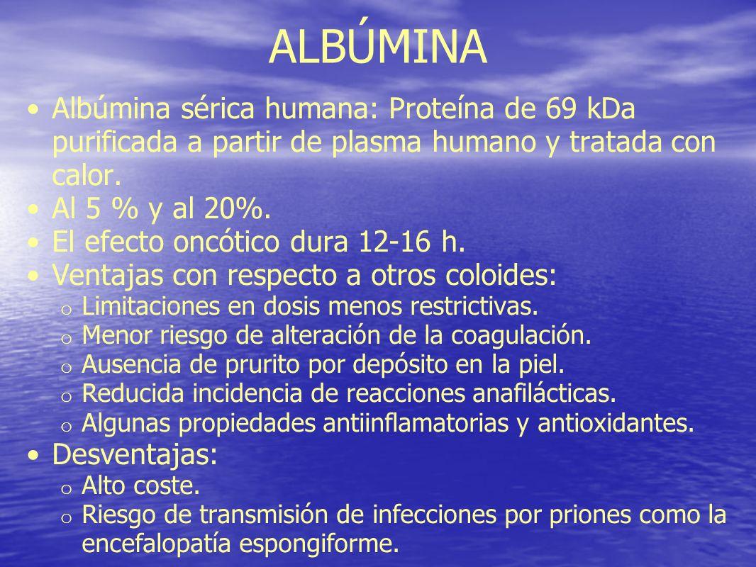 ALBÚMINA Albúmina sérica humana: Proteína de 69 kDa purificada a partir de plasma humano y tratada con calor. Al 5 % y al 20%. El efecto oncótico dura