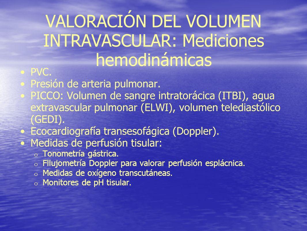 VALORACIÓN DEL VOLUMEN INTRAVASCULAR: Mediciones hemodinámicas PVC. Presión de arteria pulmonar. PICCO: Volumen de sangre intratorácica (ITBI), agua e