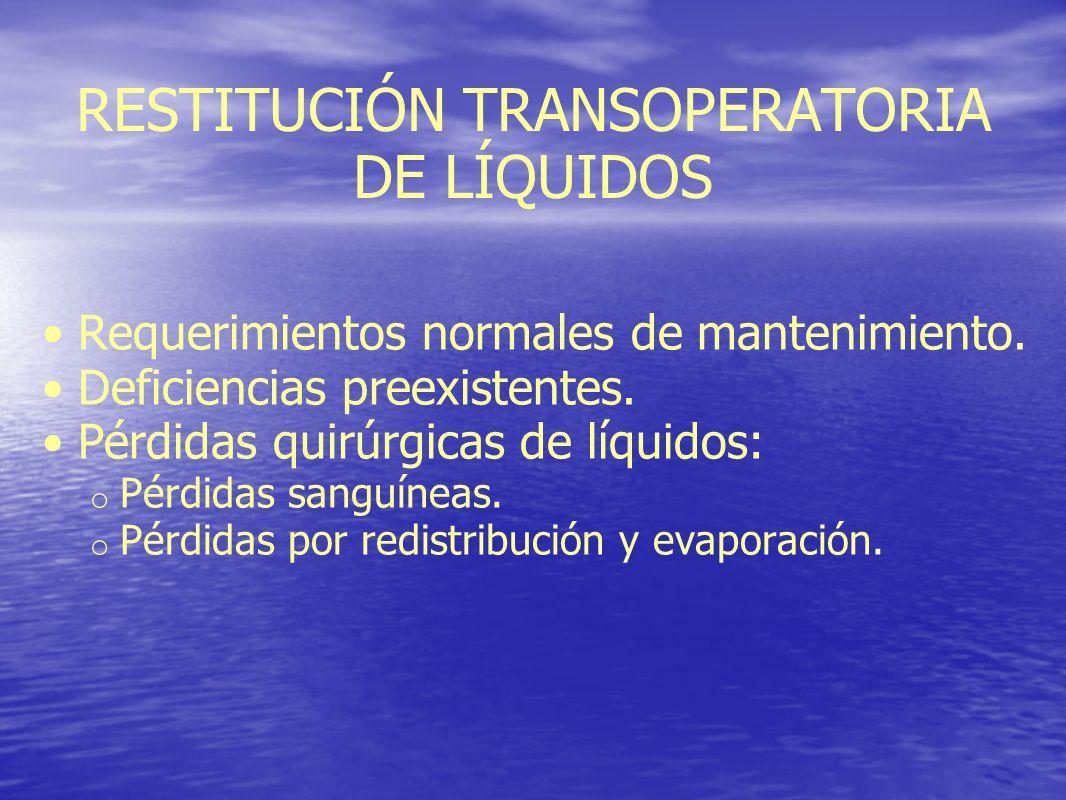 RESTITUCIÓN TRANSOPERATORIA DE LÍQUIDOS Requerimientos normales de mantenimiento. Deficiencias preexistentes. Pérdidas quirúrgicas de líquidos: o Pérd