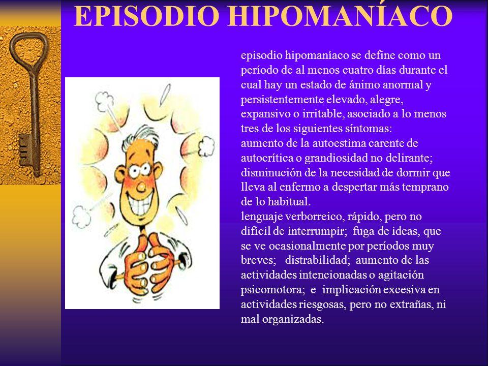 EPISODIO HIPOMANÍACO episodio hipomaníaco se define como un período de al menos cuatro días durante el cual hay un estado de ánimo anormal y persisten