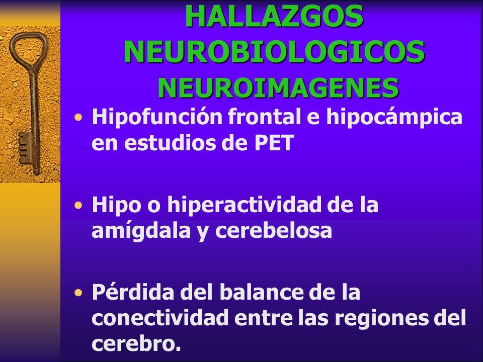 HALLAZGOS NEUROBIOLOGICOS NEUROIMAGENES Hipofunción frontal e hipocámpica en estudios de PET Hipo o hiperactividad de la amígdala y cerebelosa Pérdida del balance de la conectividad entre las regiones del cerebro.