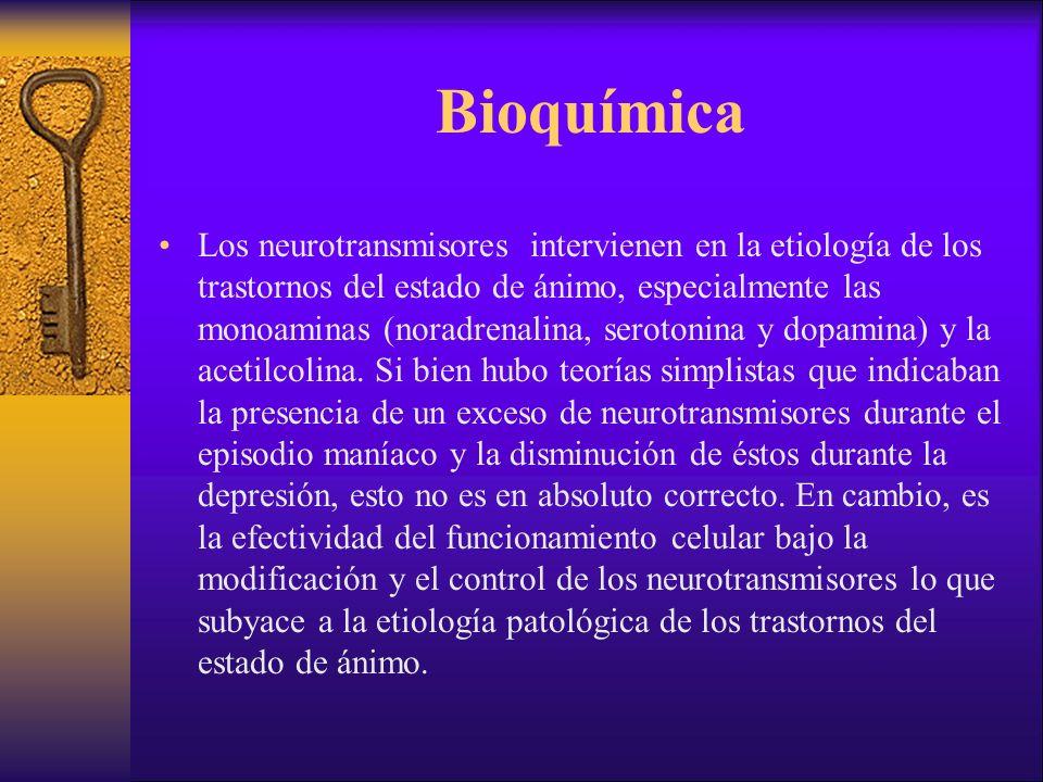 Bioquímica Los neurotransmisores intervienen en la etiología de los trastornos del estado de ánimo, especialmente las monoaminas (noradrenalina, serotonina y dopamina) y la acetilcolina.