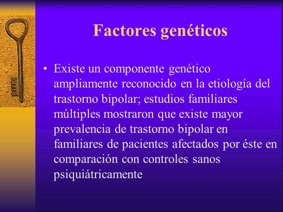 Factores genéticos Existe un componente genético ampliamente reconocido en la etiología del trastorno bipolar; estudios familiares múltiples mostraron