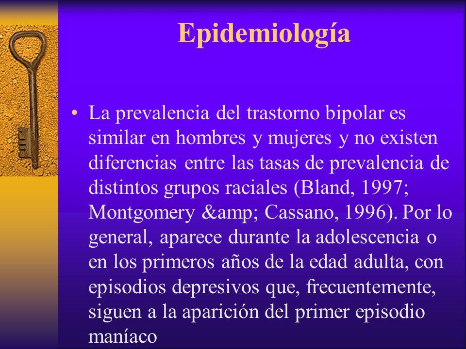 Epidemiología La prevalencia del trastorno bipolar es similar en hombres y mujeres y no existen diferencias entre las tasas de prevalencia de distinto
