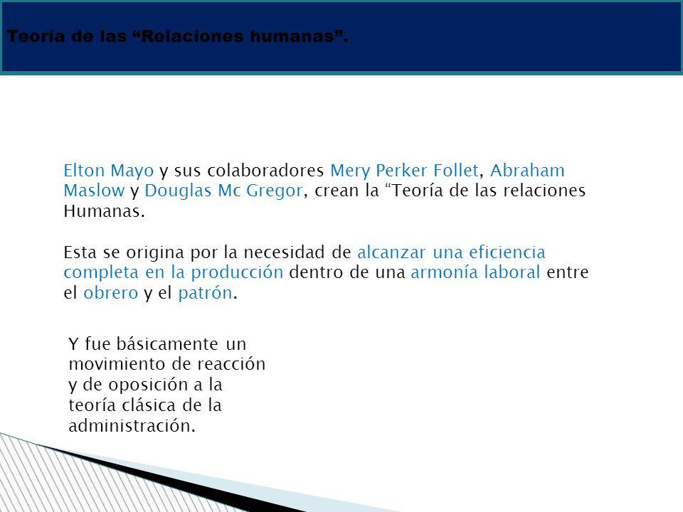 Teoría de las Relaciones humanas. 1930 Elton Mayo y sus colaboradores Mery Perker Follet, Abraham Maslow y Douglas Mc Gregor, crean la Teoría de las r